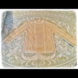 Vintage Wool Cream Cable Knit Fisherman Sweater.